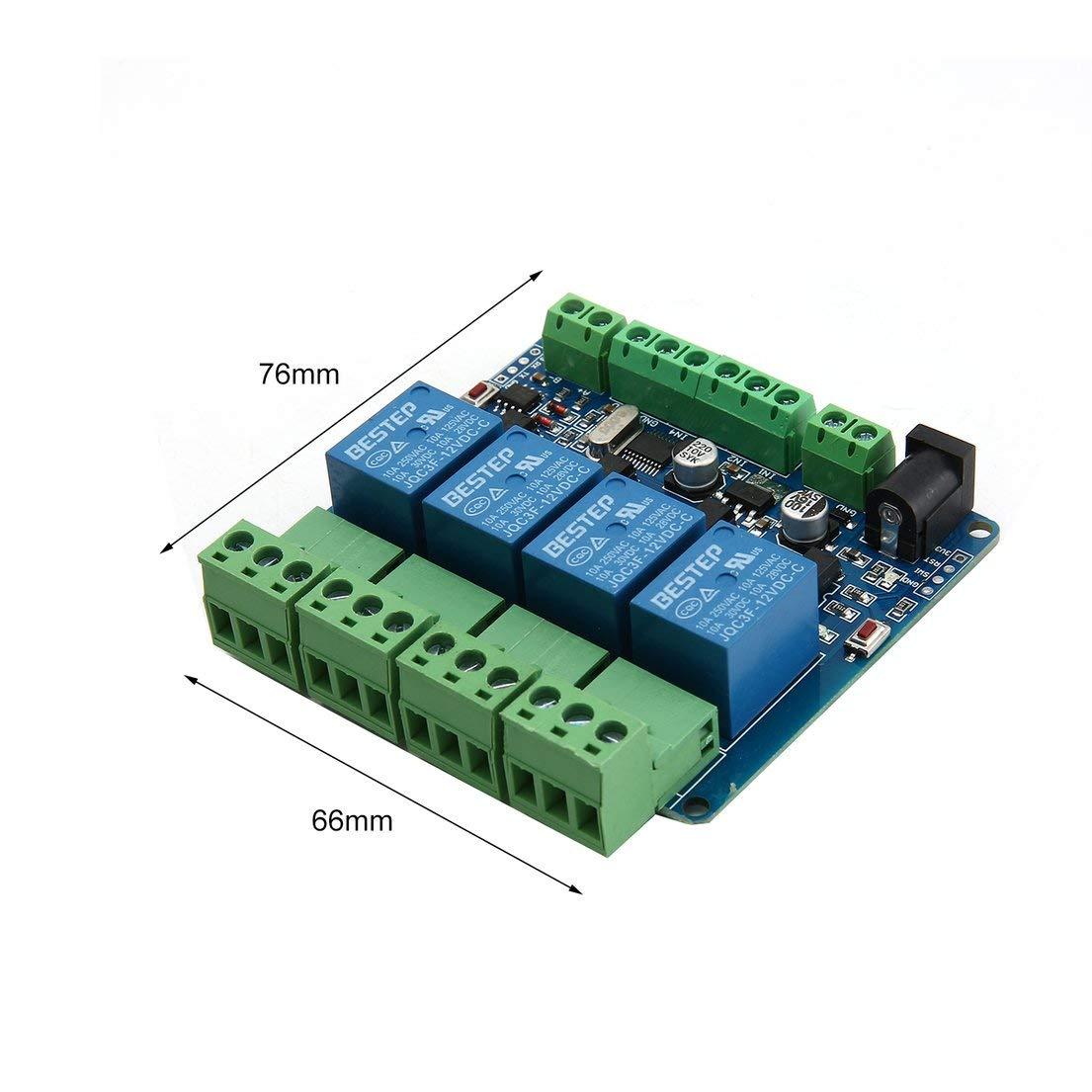 DF-ES 1PCS Modbus RTU 4 Canales 12V M/ódulo de Salida de rel/é M/ódulo de Entrada de Entrada RS485 TTL M/ódulo de comunicaci/ón Verde