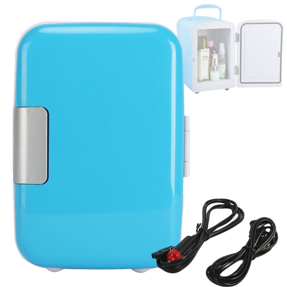 4L/6 Can Mini Fridge Cooler for Cosmetics Medical and Breast Milk DC 12V AC110V Blue