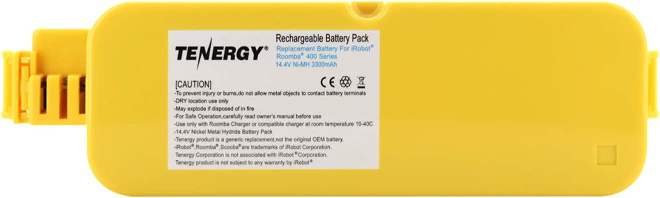 Tenergy Replacement Battery for iRobot Roomba 400 410 415 4000 4100 4110 4130 4150 4170 4188 4210 4220 4225 4230 4232 4260 Vacuum Cleaner, 14.4V 3300mAh Advanced Power System (APS) NiMH Roomba Battery: Home & Kitchen