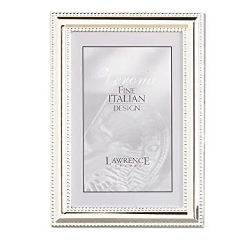 lawrence frames metal picture frame silver plate with delicate beading 5 by 7