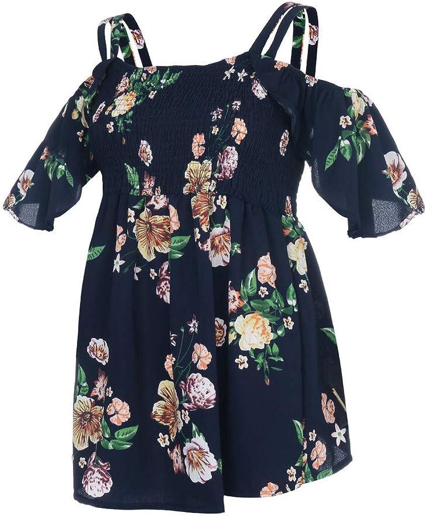 Hemlock Women Floral Printed Tops Cold Shoulder Camis Short Sleeve Blouses Flowers Oversized Tops Summer T Shirt