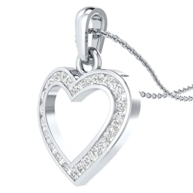 19db8f431 Demira Jewels IGI Certified 1/4 cttw Natural Diamond Heart Pendant in 14k  White Gold