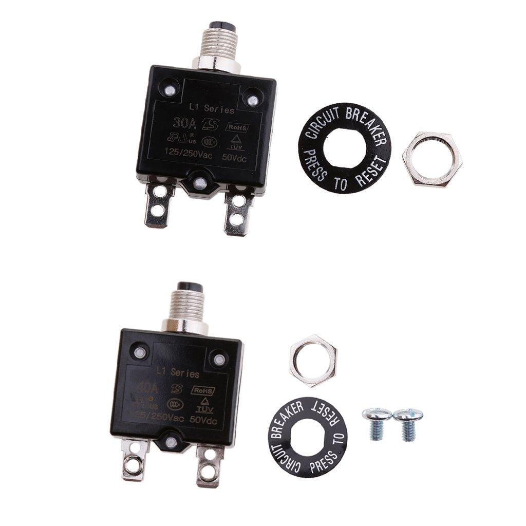 Sharplace 2pcs 30A 40A Push Button Manual Reset Thermal Circuit Breaker 50V DC 250V AC