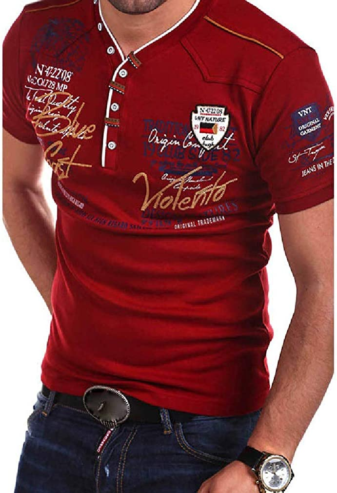 Comaba Men Slim Fit Fashion Printed Short Sleeve V-Neckline Shirts