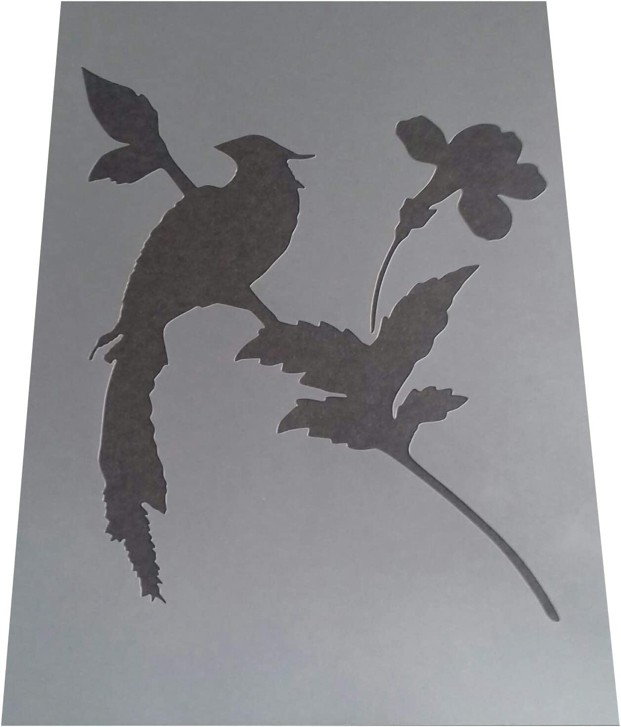 Solitarydesign Shabby Chic Stencil Long tail Bird in Tree Rustic Mylar Vintage A4 297x210mm furniture wall art