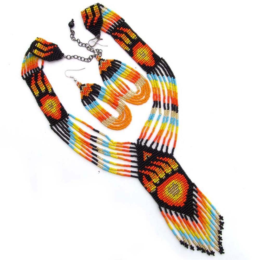LA VIVA Orange Fire Seed Beaded Necklace Earrings Bear Paw S-53-SB-5