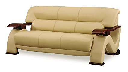 Delicieux Global Furniture Parker Collection Leather Matching Sofa, Cappuccino