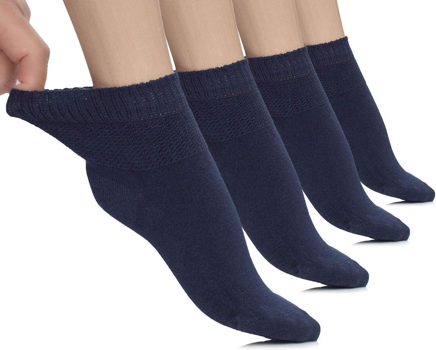 Hugh Ugoli Lightweight Women'S Diabetic Ankle Socks Bamboo Thin Socks Seamless Toe und Non-Binding Top, 4 Pairs