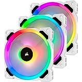 Kit 3x Cooler Fan PWM LL120 LED RGB + Controladora, Corsair, CO-9050092-WW, Branco, 120 mm