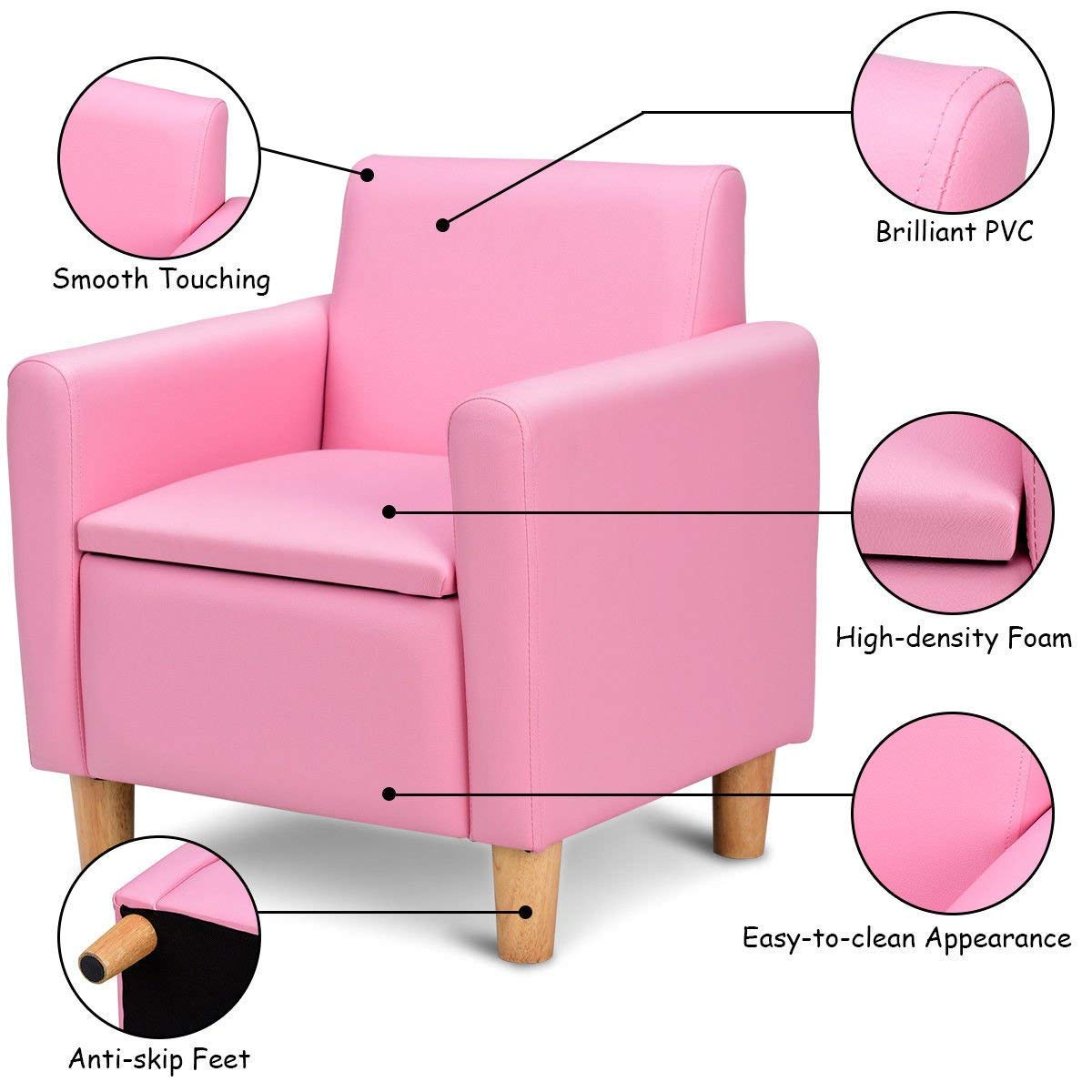 HONEY JOY Kids Sofa, Upholstered Armrest, Sturdy Wood Construction, Toddler Couch with Storage Box (Single Seat, Pink) by HONEY JOY (Image #5)