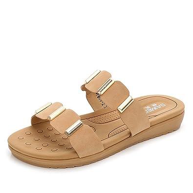 JITIAN Damen Casual Slides Sandalen Open-Toe Slip auf Sommer Flache Schuhe Strand Pantoffeln yITSH
