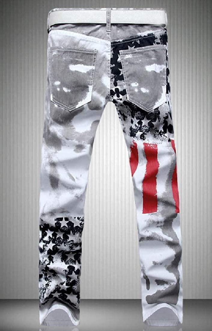 SportsX Mens American Flag Large Size Distressed Cowboy Long Pants