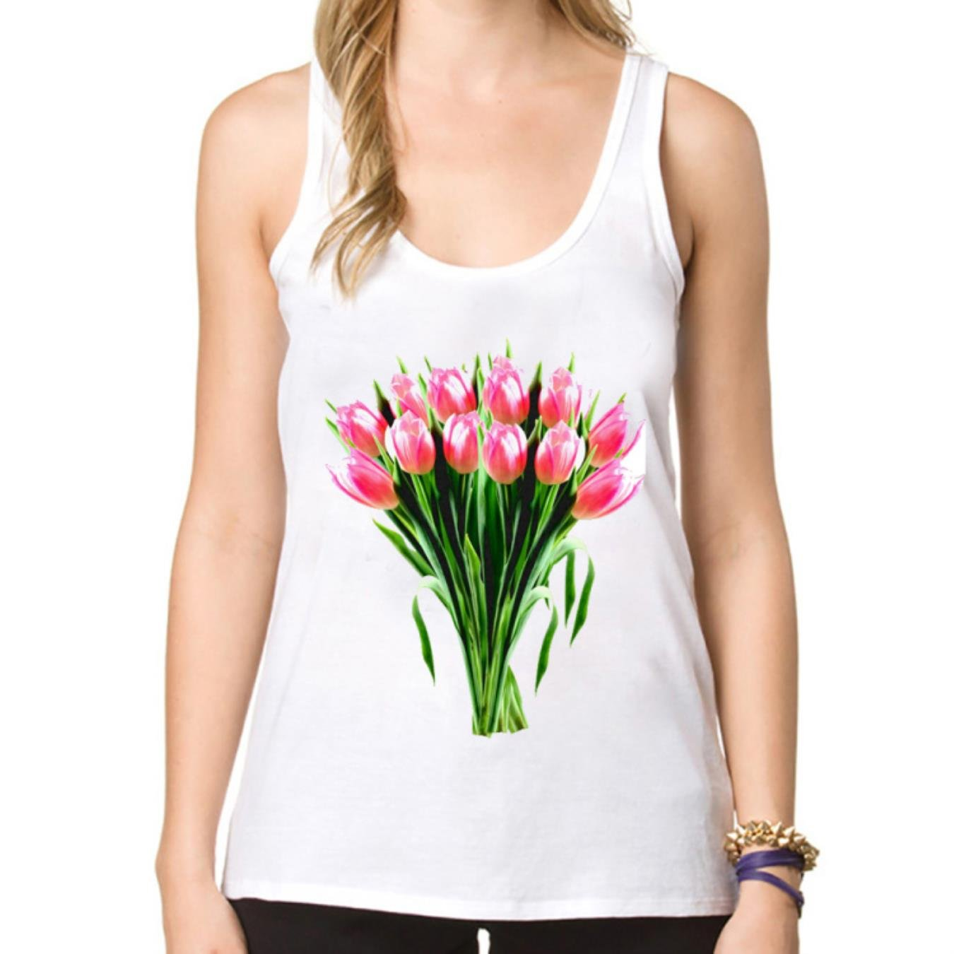 Summer fall fashion women39;s vest Tulips bouquet print tanks fashion female Tops super funny cool sleeveless Tee