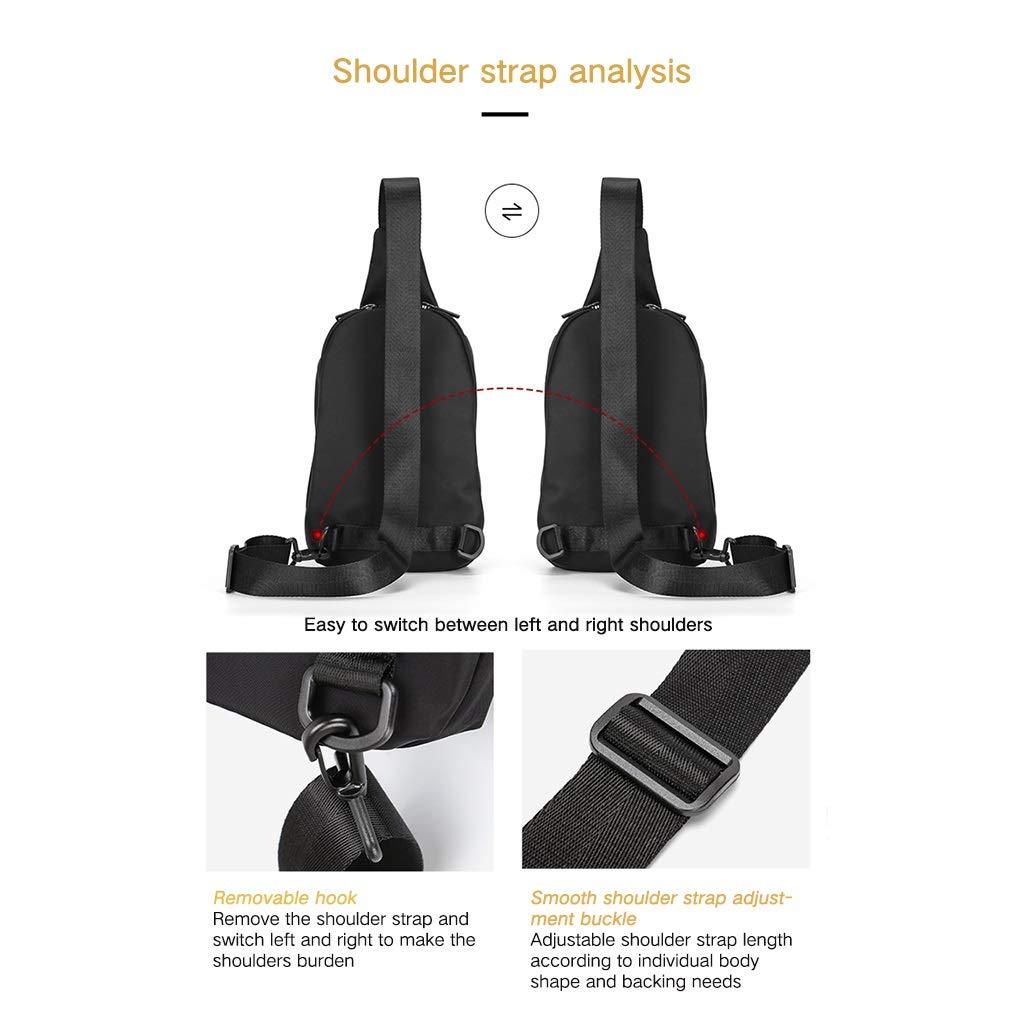 Mens Chest Bag Small Backpack Mens Small Light Chest Bag Messenger Bag Mens Tide Brand Shoulder Bag Chest Bag Color : Black, Size : 27186CM