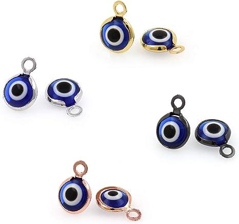 10Pcs Beads Charms Turkey Sky Blue Evil Eye Pendant DIY Necklace Jewelry Making