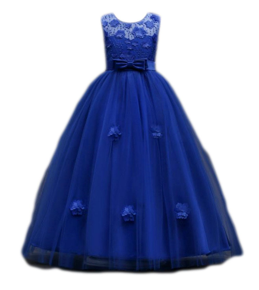 Lutratocro Girls Summer Lace Sleeveless Bowknot Swing Pleated Mesh Dress Jewelry Blue 11T