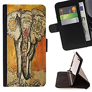 King Art - Premium PU Leather Wallet Case with Card Slots, Cash Compartment and Detachable Wrist Strap FOR Apple iPhone 6 6S Plus 5.5- Elephant Cute Aztec