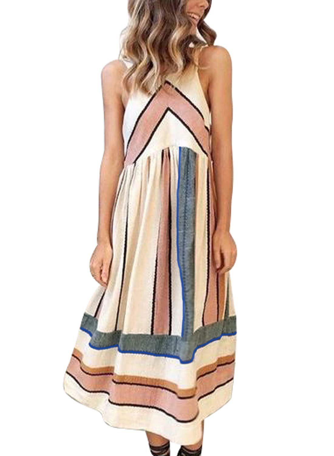 Asvivid Womens Summer Sleeveless Halter Fit and Flare Casual Striped Midi Dress Small Stripes18