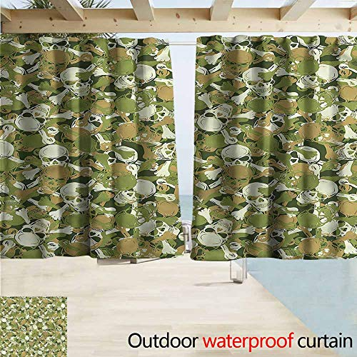 MaryMunger Rod Pocket Top Blackout Curtains/Drapes Camo Sketchy Spooky Camouflage Rod Pocket Curtain Panels W55x45L Inches