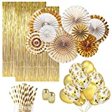 Gold Party Decorations (25) Gold Paper Straws (10) Gold Confetti Balloons (10) Gold Balloons (8) Paper Fans (2) Gold Foil Fringe Curtain. Gold Decor, Gold Birthday Decorations Gold Wedding Decorations