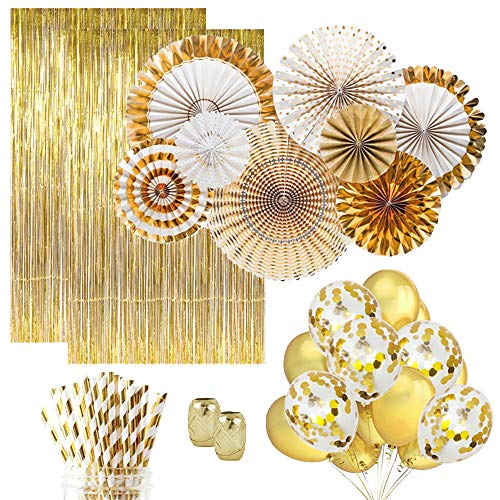 Gold Party Decorations (25) Gold Paper Straws (10) Gold Confetti Balloons (10) Gold Balloons (8) Paper Fans (2) Gold Foil Fringe Curtain. Gold Decor, Gold Birthday Decorations Gold Wedding -