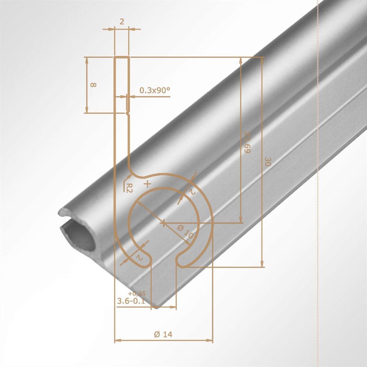 Lysel Rail en aluminium pour auvent 15/x/30/mm pour bourrelet de tente de 7,5 /à 8,5/mm