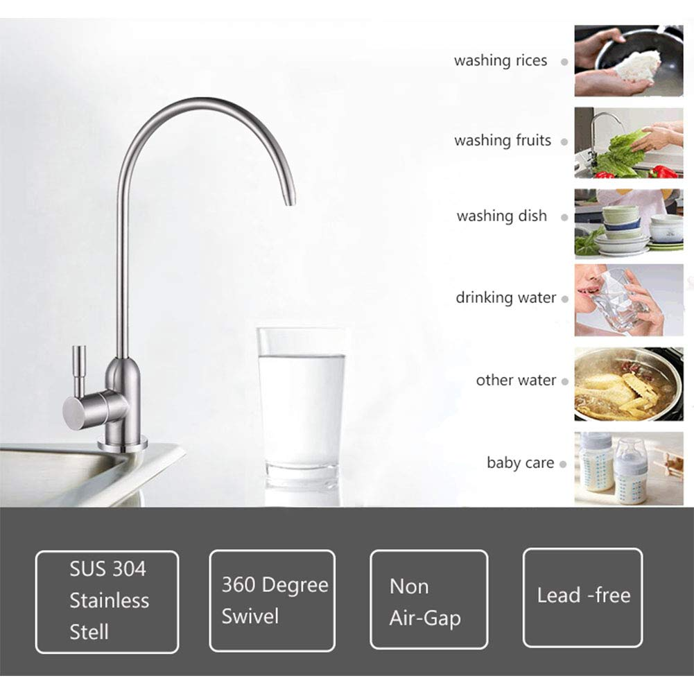 V.C.Formark Drinking Water Faucet RO Filtration Lead-Free SUS 304 Stainless Steel Finish 1//4 inch Tube Quick Connector Included Non-Air Gap VC-Drinking-Water-Faucet