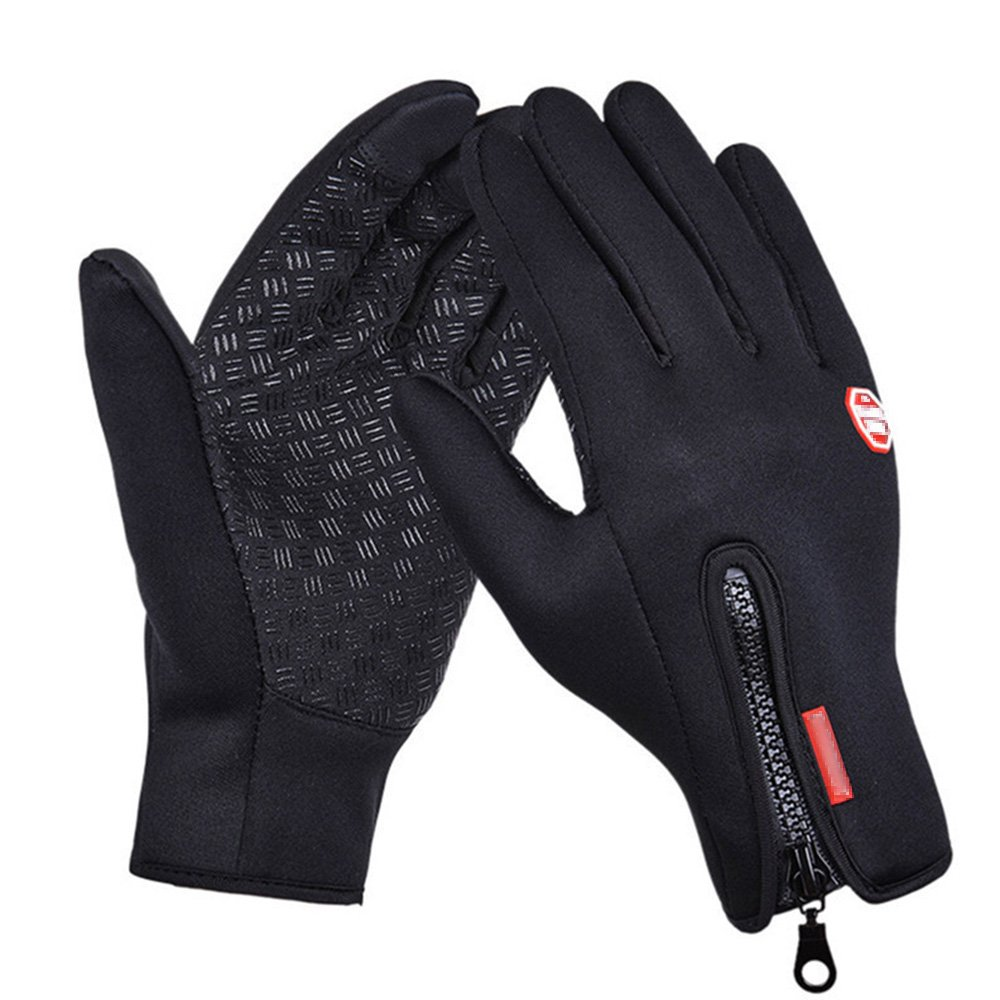 Touch Screen Gloves ,Zipper Windproof Waterproof Winter Outdoor Gloves for Smartphones, Suitable for Autumn, Spring, Early Winter (M)