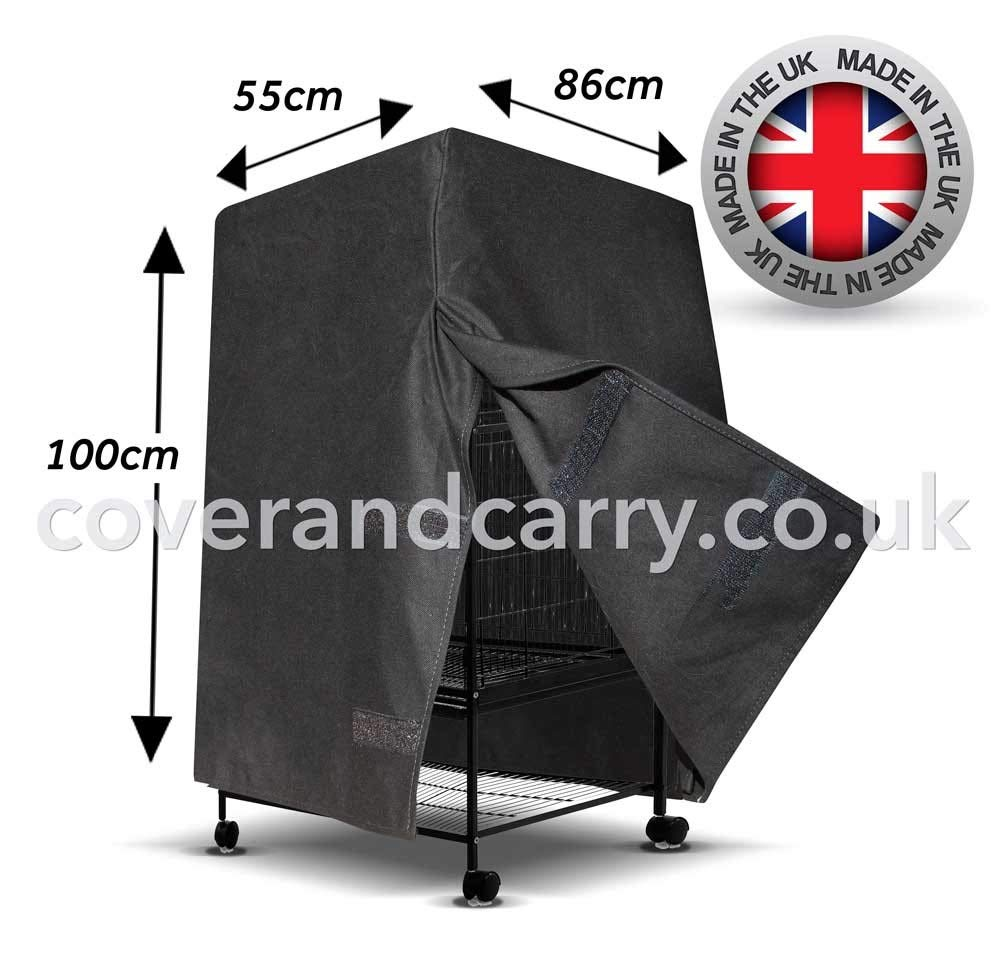 Flat top parred bird cage cover 55cm x 100cm x 86cm full blackout cotton, made in the UK