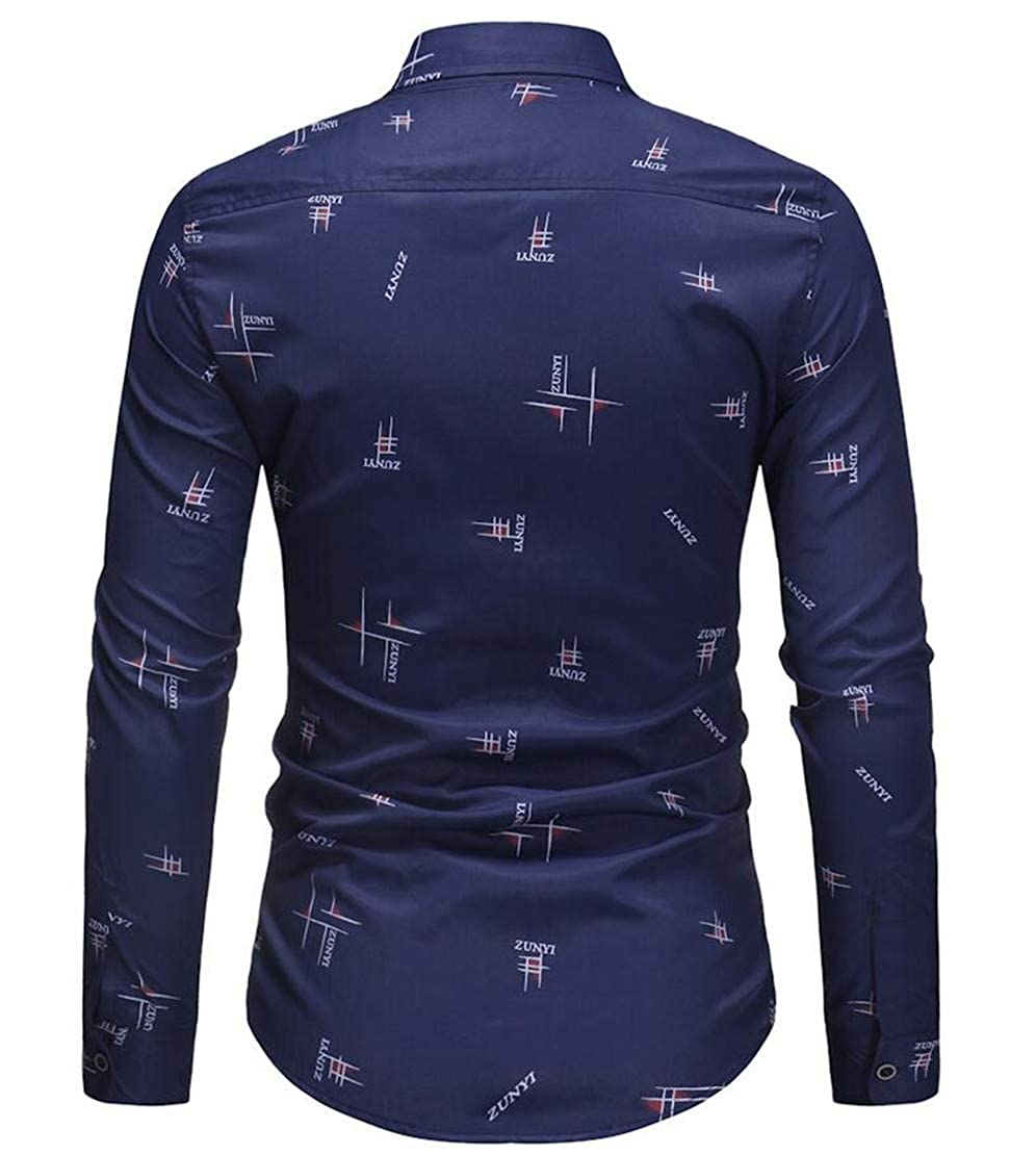 Zantt Mens Long Sleeve Formal Classic Button Up Print Dress Shirts