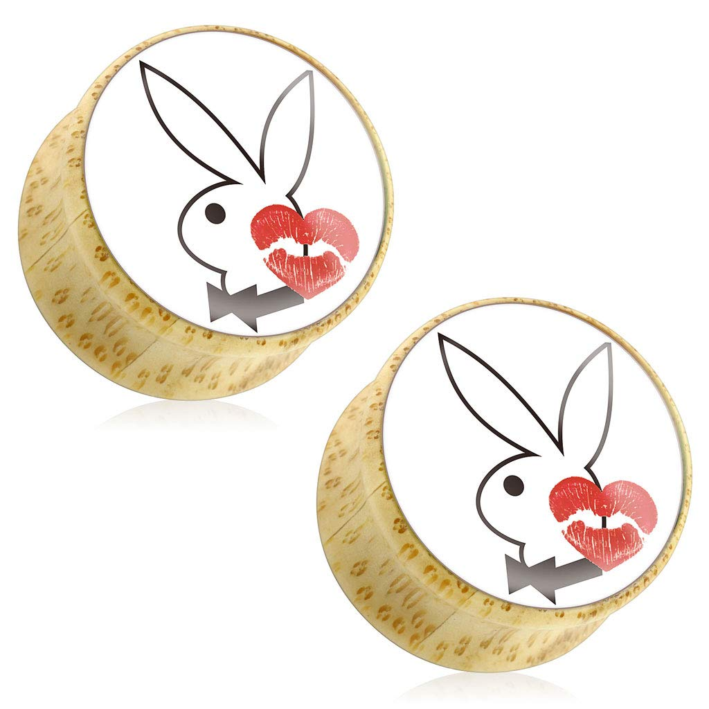 Dynamique Pair of Playboy Bunny with KISS Mark Print Wood Saddle Plugs