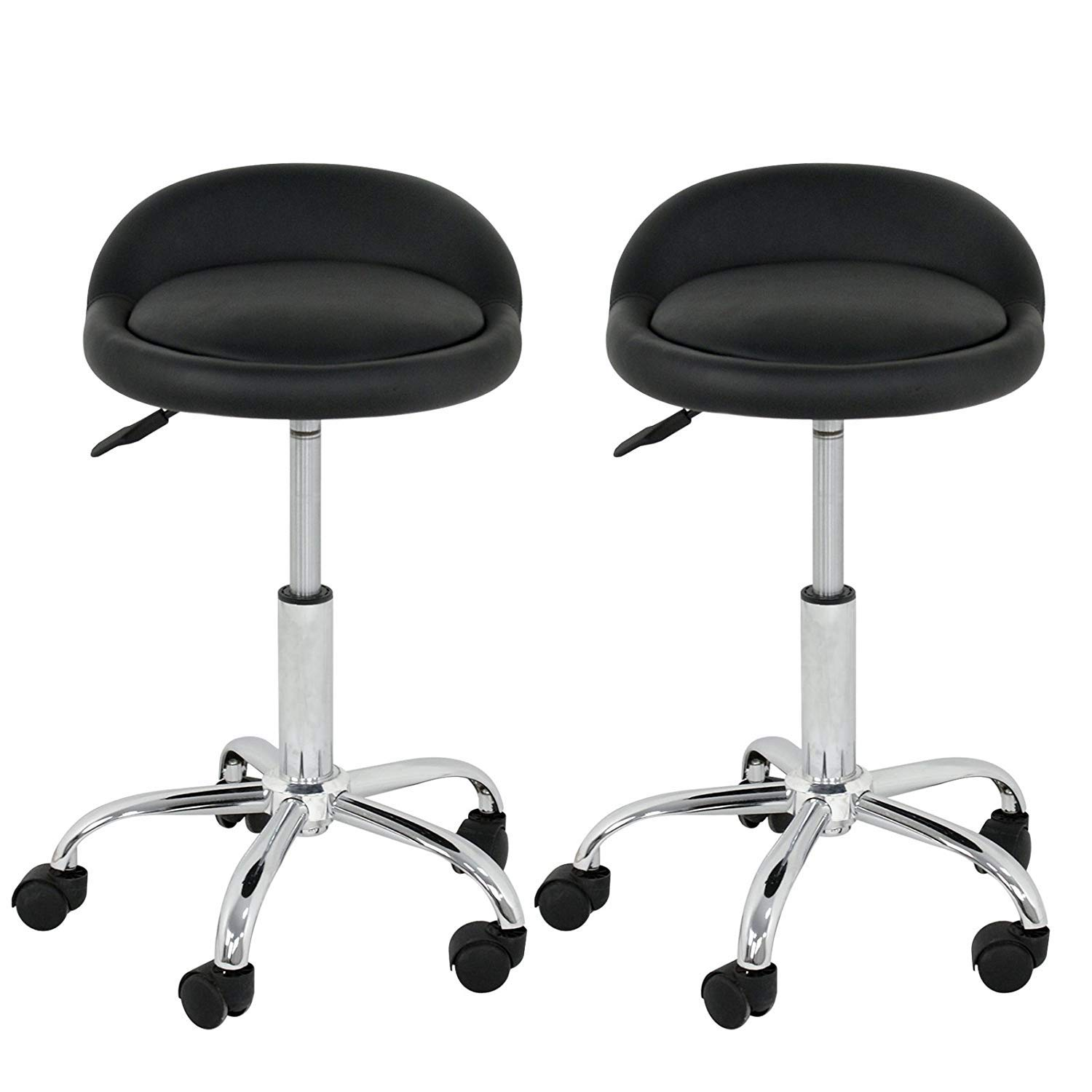 Nova Microdermabrasion Adjustable Hydraulic Rolling Swivel Salon Stool Chair Tattoo Massage Facial Spa Stool Chair with Back Rest (PU Leather Cushion) (Black 2pcs)