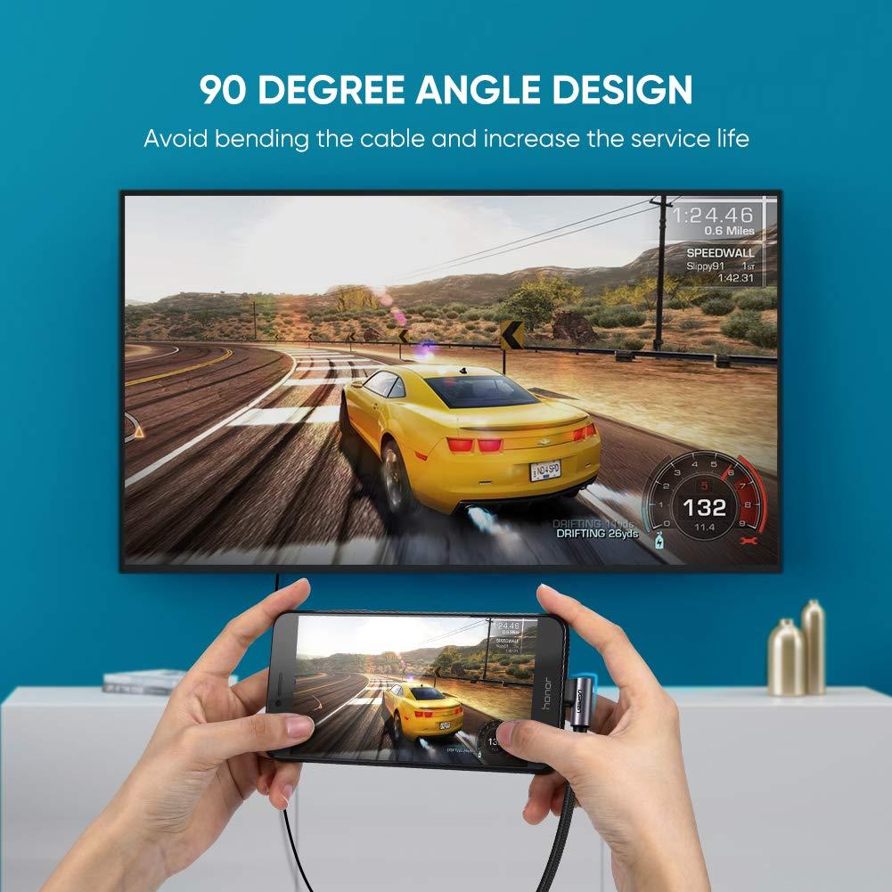 Amazon.com: UGREEN USB C to HDMI Cable Right Angle 4K USB ...