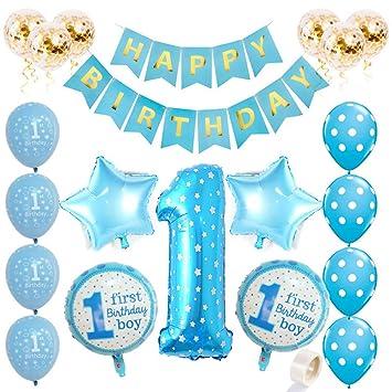 Juland Kit de Decoraciones para niño de 1er cumpleaños Suministros Primera Fiesta Azul - Globo de Aluminio número 1, Estandarte Dorado, Estrellas y ...