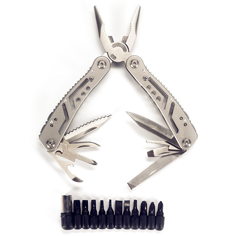 13-in-1 Folding Multi Function Plier Kits Stainless Steel Knife Tool with Screwdriver Set -Heavy Duty Multi Tools for Camping Hiking Outdoor Survival Home Improvement - by Bogo Arty