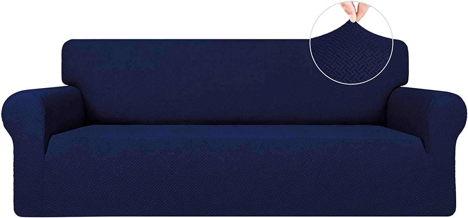 Easy-Going Stretch Jacquard Couch Cover, 1-Piece Soft Sofa Cover, Sofa Slipcover with Anti-Slip Foams, Washable Furniture Protector for Kids, Dogs, Cats ( Sofa, Navy)