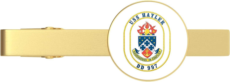 HOF Trading US Navy USS Hayler DD-997 Military Veteran Served Gold Tie Clip Tie Bar Veteran Gift