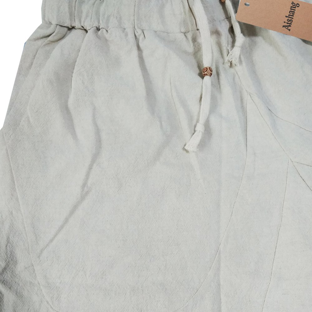Aishang Men's Patchwork Shorts Elastic Waist Linen Loose Pocket Capris Joggers Harem Pants by Aishang (Image #5)