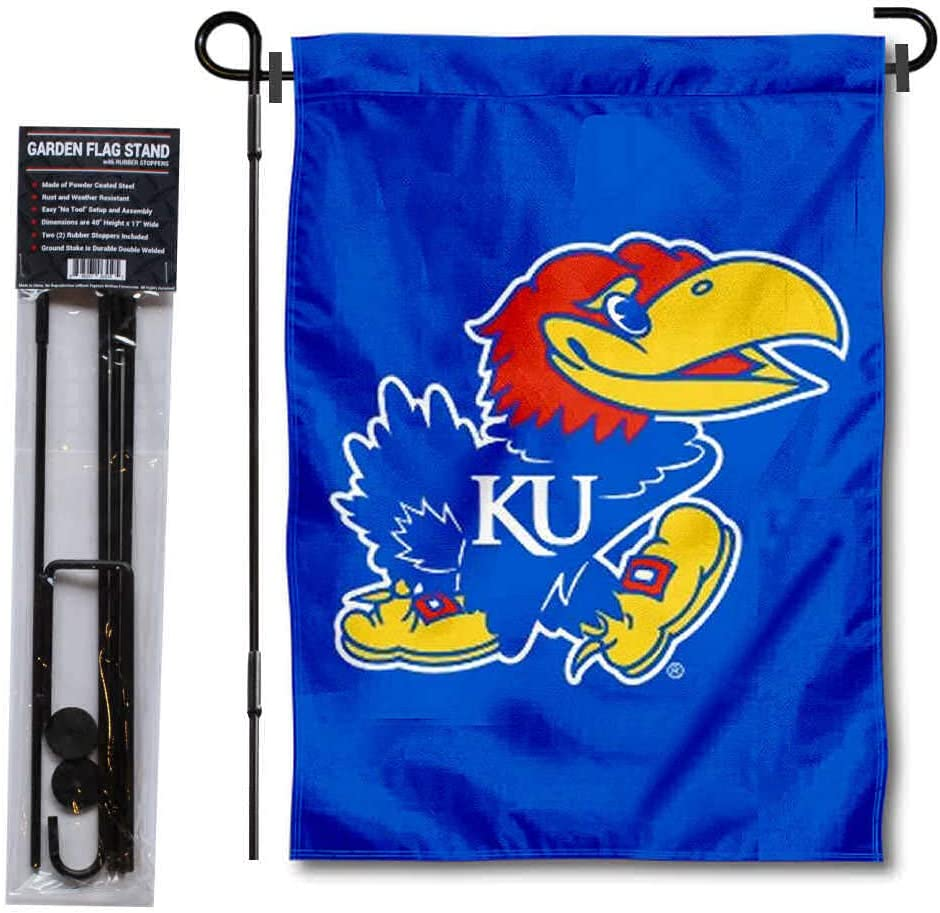 University of Kansas Garden Flag and USA Flag Stand Pole Holder Set