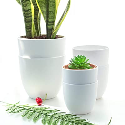 YIKUSH 5.5/4.5/4 inch Plastic Planters Indoor Set of 6, White Plant Pots with Drainage Hole, Round Garden Flower pots for All House Plants: Home & Kitchen