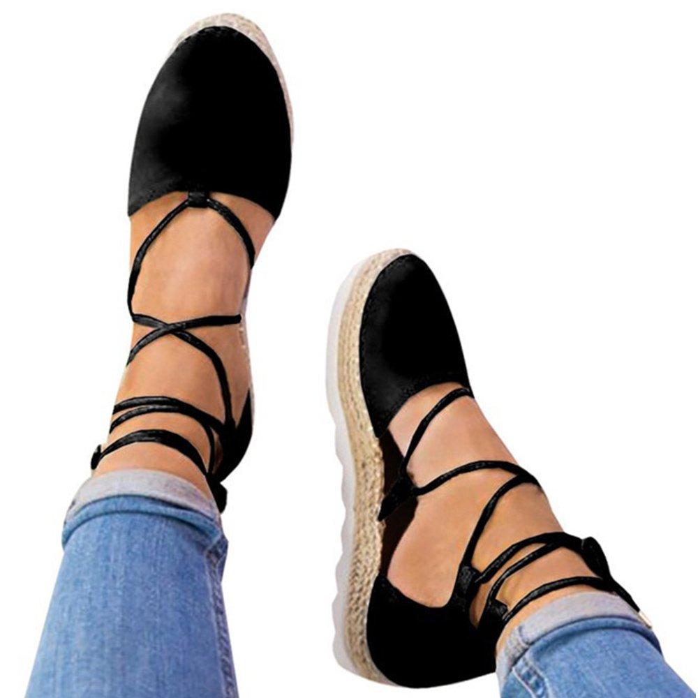 Rainlin Women's Crisscross Lace up Espadrille Platform Sandals Cut Out Ankle Wrap Flat Shoes Size 9 Black
