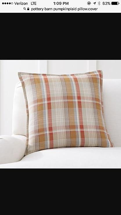 Amazon Com Pottery Barn Pumpkin Plaid Pillow Cover 20x20 New Cotton