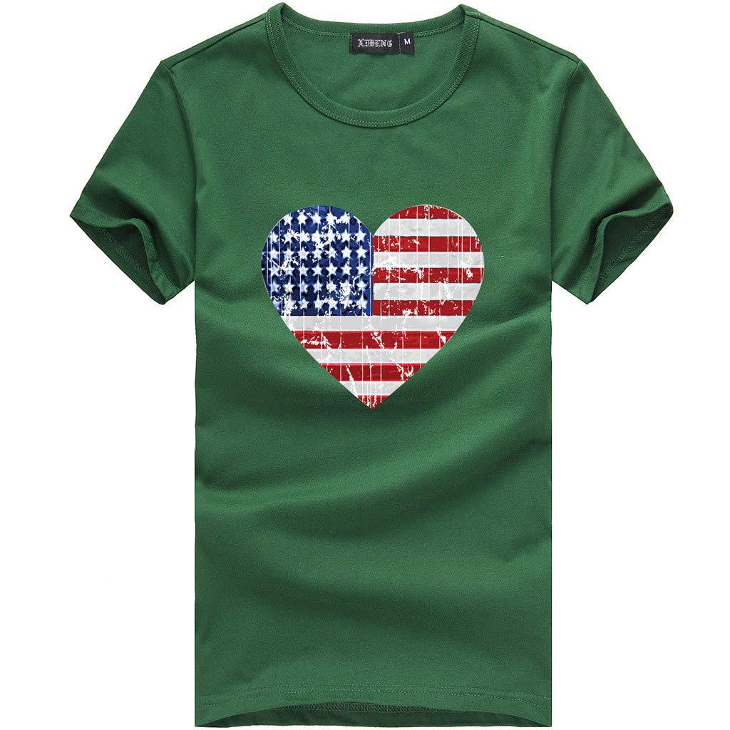 Gillberry Womens Short Sleeve American Flag 4th of July Love Print Shirts Tee