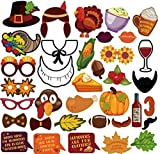 36-Piece Thanksgiving Photo Booth Props Kit-Autumn Design Element of Pumpkin Turkey Wine Bread Corn Fruits Maple Leaves for Autumn Party Fall Party Decorations Happy Thanksgiving Day Photo Prop Kit