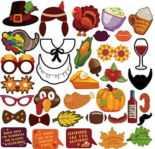 36-Piece Thanksgiving Photo Booth Props Kit-Autumn Harvest Funny Element of Pumpkin Turkey Wine Bread Corn Flowers Fruits Maple Leaves for Autumn Party Fall Party Supplies Thanksgiving Day Decoration
