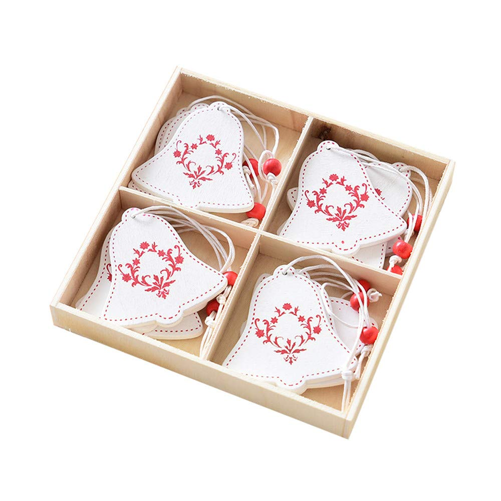 AmaSells 8/12pcs Merry Christmas Decorations Wooden Ornament Xmas Tree Hanging Tags Pendant,Christmas Decoration Nordic Ins Wooden Creative Boxed Pendant,Christmas Decor (multicolor B)