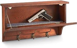 CASTLECREEK Gun Concealment Wall Shelf with Hanging Hooks, Shelves with Hidden Secret Storage Compartment, Dark Cherry Wood Finish