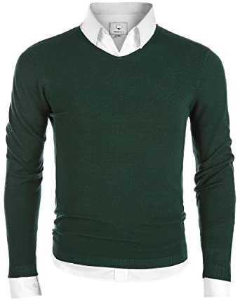 d112358888d MOCOTONO Men s V-Neck Long Sleeve Pullover Casual Sweater Dark Green Small