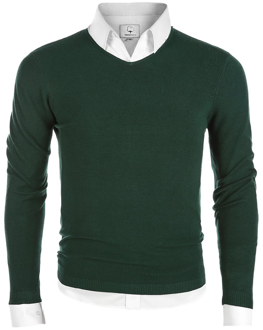 MOCOTONO Men's V-Neck Long Sleeve Pullover Casual Sweater Dark Green X-Large