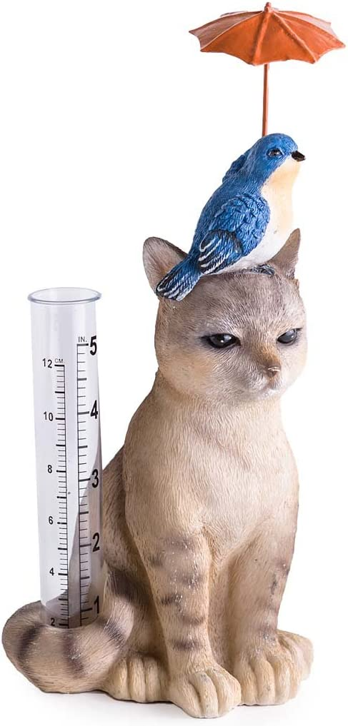 Wind & Weather Cat and Bird with Umbrella Rain Gauge - All-Weather Resin Sculpture with Acrylic Rain Tube